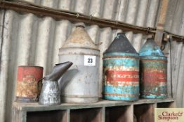 3x oil cans to include Glidol, oil jug etc.