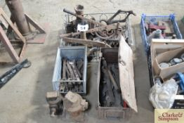 Large quantity of vintage tools and jacks.