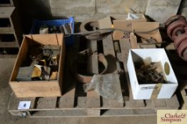 Pallet of used and unused Caterpillar D2 spares. To include bearings, clutch plates, springs etc. NO