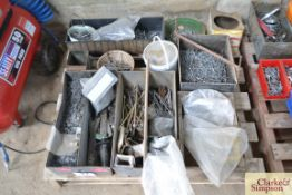 Pallet of various nails and fasteners.