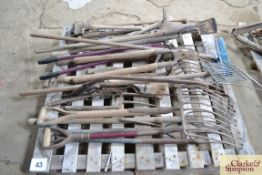 Pallet containing large quantity of long handled tools.