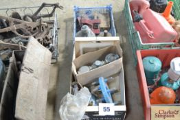 Various spares to include gauges, filter housing and combine knife rivet tool etc.