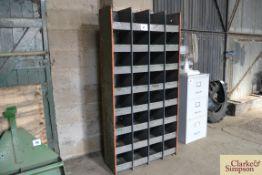 Metal parts storage rack.