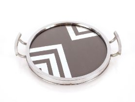An Art Deco design chrome plated serving tray, wit