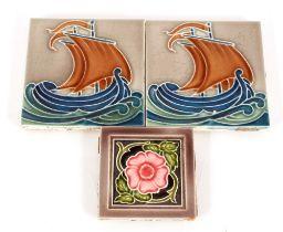 Three decorative 1930's wall tiles
