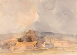 "Wade, unframed watercolour ""Downs Around Havant"";"