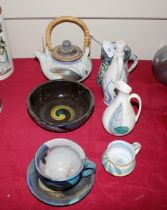 A small collection of hand painted Studio pottery,