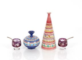 """Two D'Amore """"Vietri"""" pottery vases; and two ruby g"""