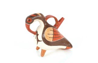 A pottery replica as textile, bird figure vessel w