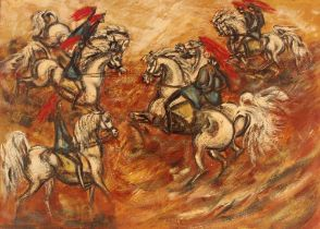 Monica English 20th Century British, oil on board study of Knights on horseback, 80cm x 110cm