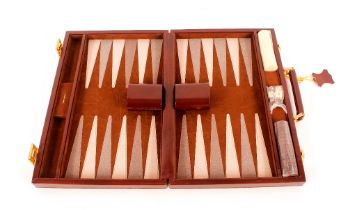 An Asprey leather cased back gammon set