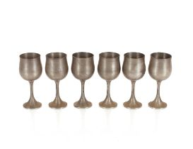 Six pewter goblets