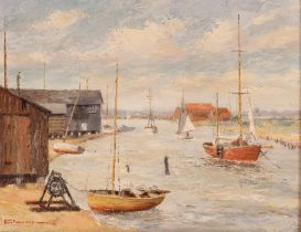Tom Lewsey (1910-1965), study of Walberswick, signed oil on ca