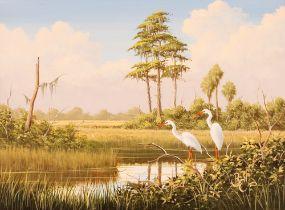 "Ben W Essenburg, ""White Ibis"" monogrammed acrylic"