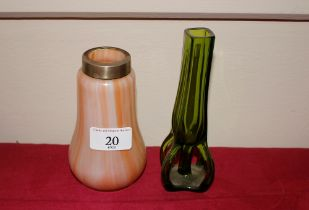 An Art Nouveau Austrian iridescent glass vase; tog