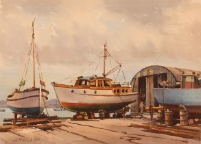 J C Middleton, study of a boatyard, signed waterco