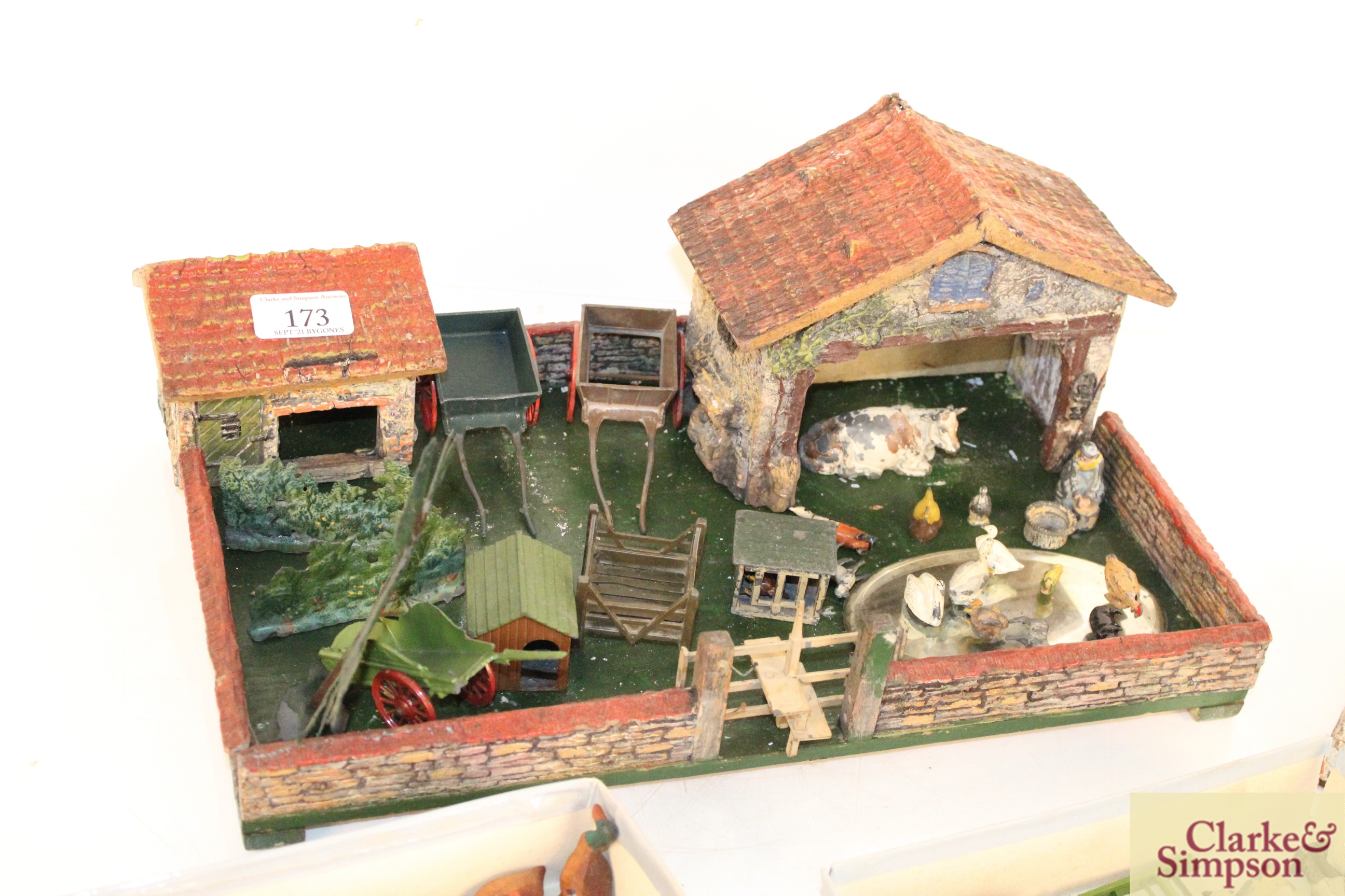 A toy farmyard and a quantity of model lead animals an - Image 2 of 8