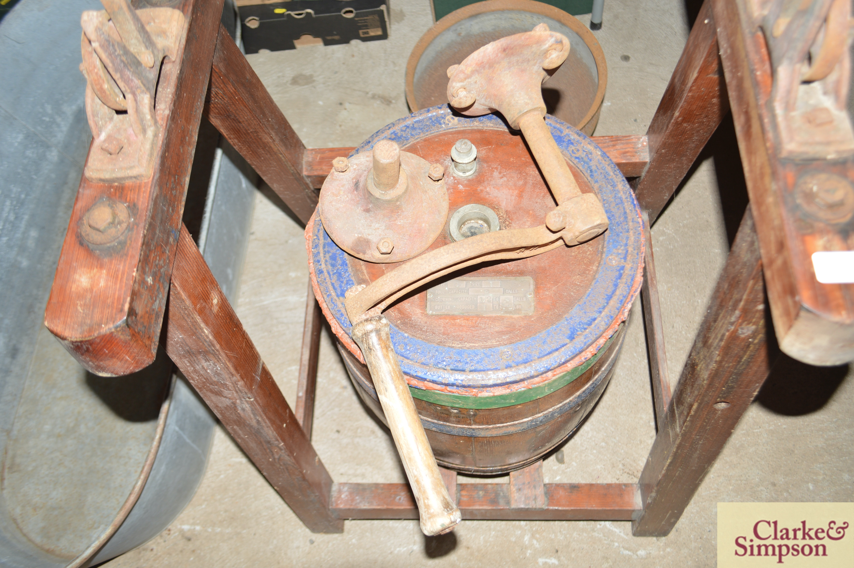 An old butter churn with stand and cream separator - Image 4 of 13