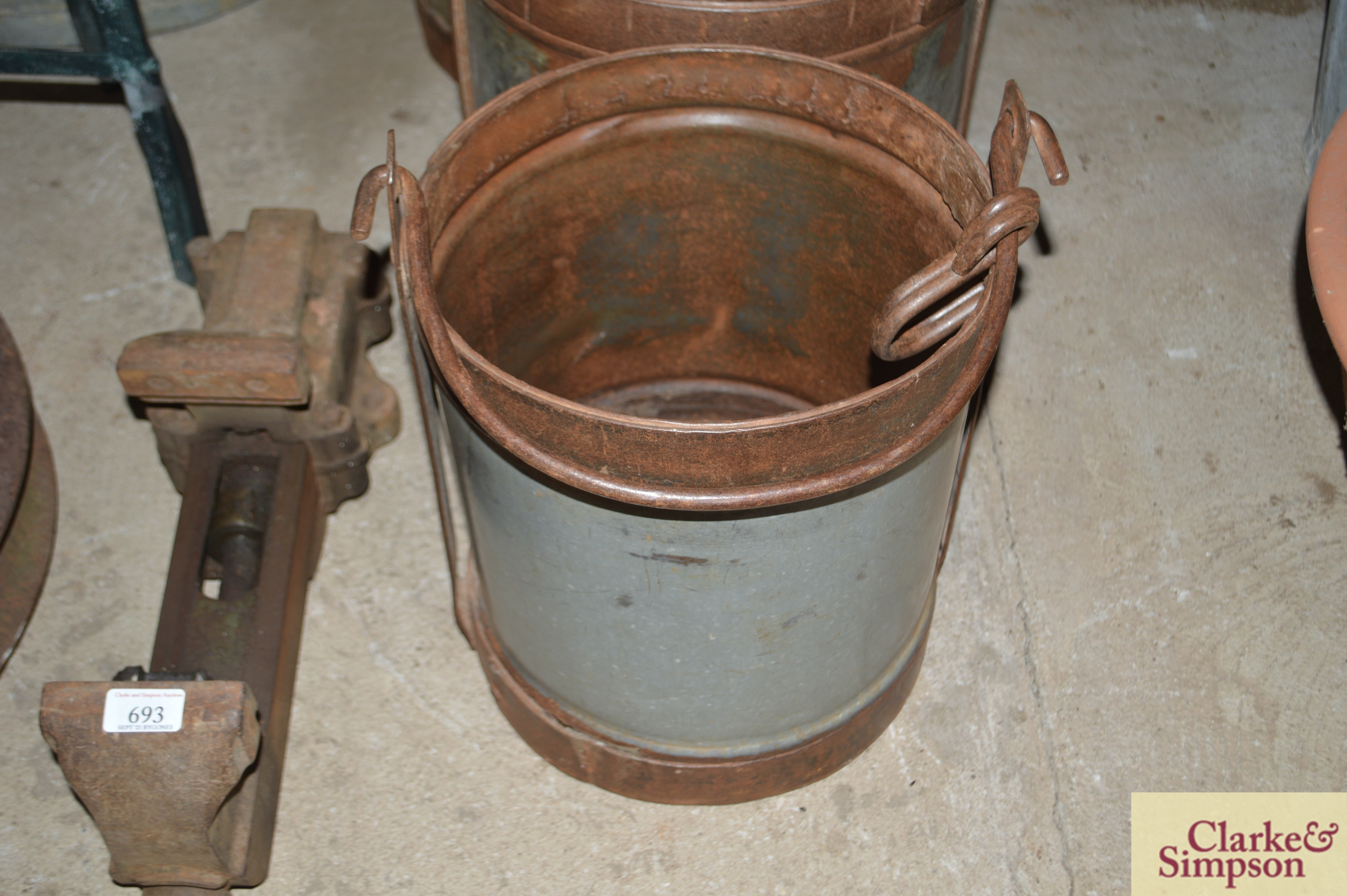 Three graduated galvanised and iron pails with swi - Image 2 of 7