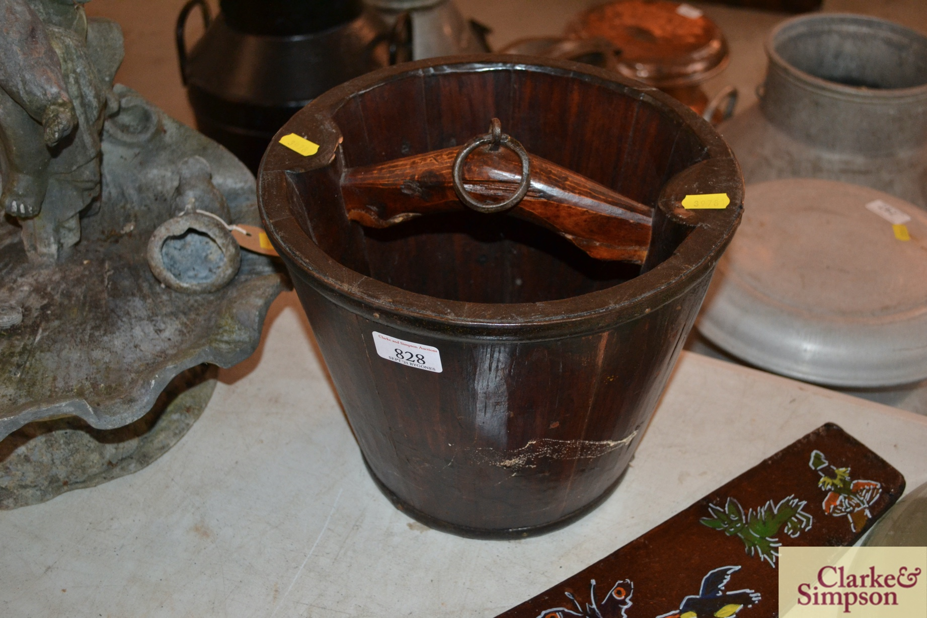 A metal bound wooden well pail