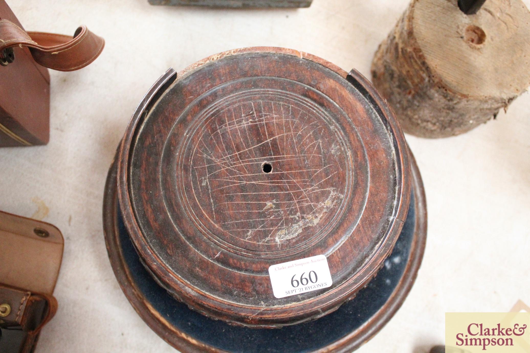 A Victorian circular walnut foot stool raised on c - Image 3 of 5