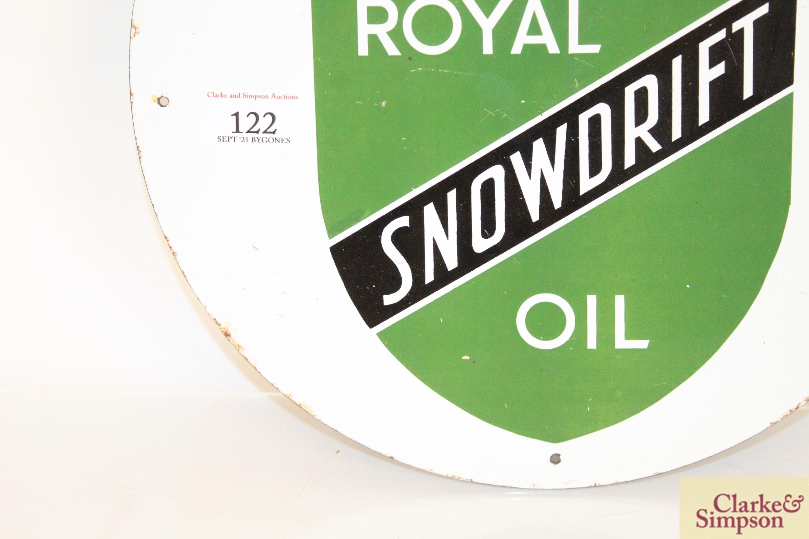 "A circular enamel sign for ""Royal Snowdrift Oil"", - Image 5 of 10"