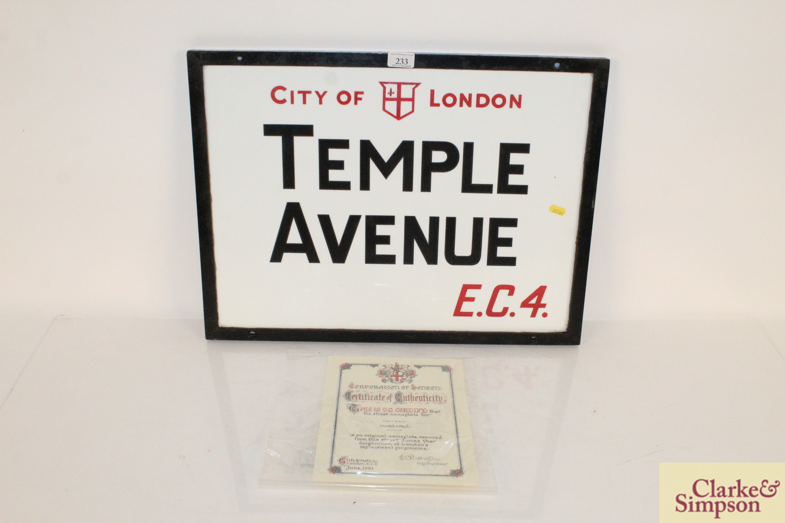 "An original ""Temple Avenue EC4"" vitreous white gla"