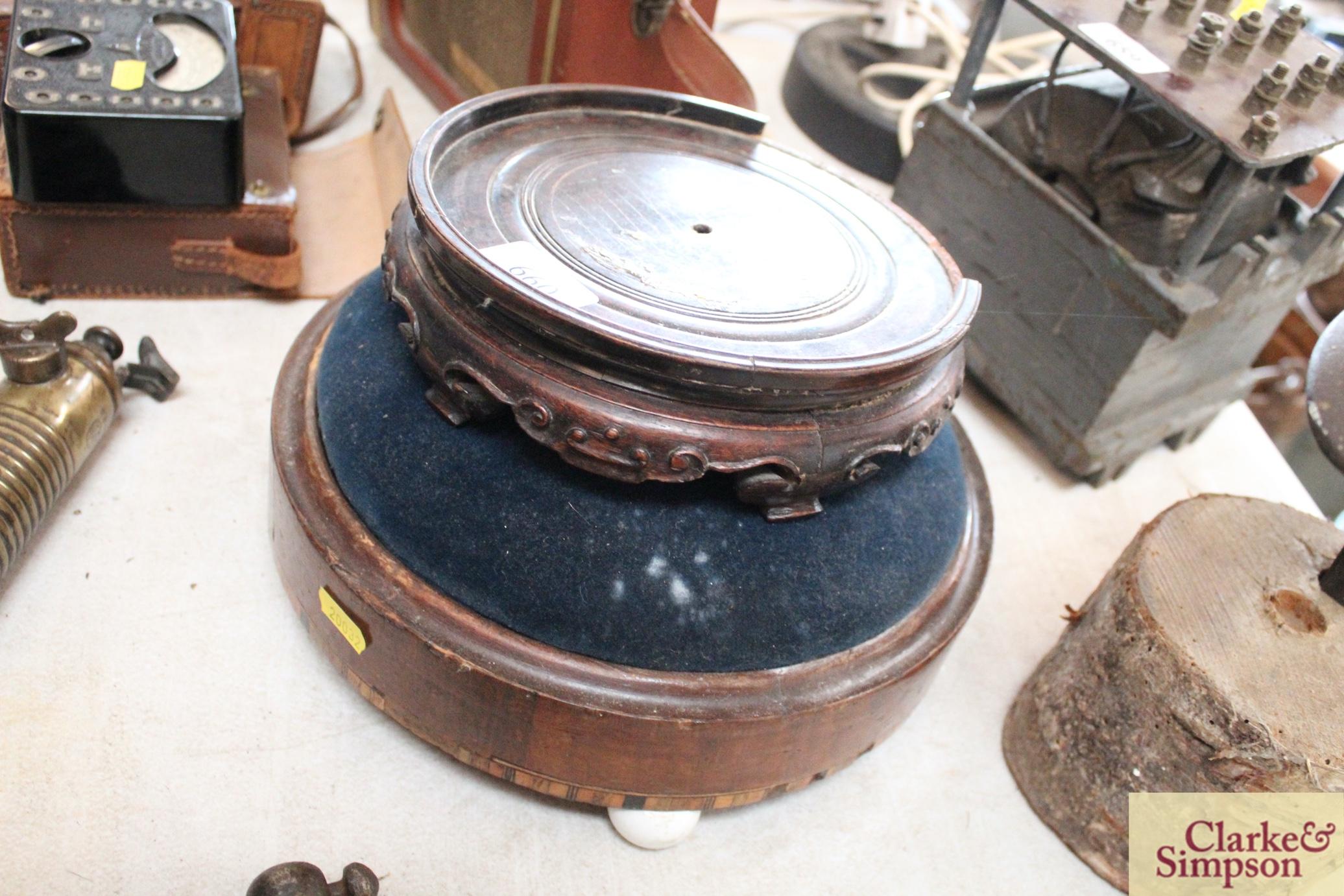 A Victorian circular walnut foot stool raised on c - Image 2 of 5
