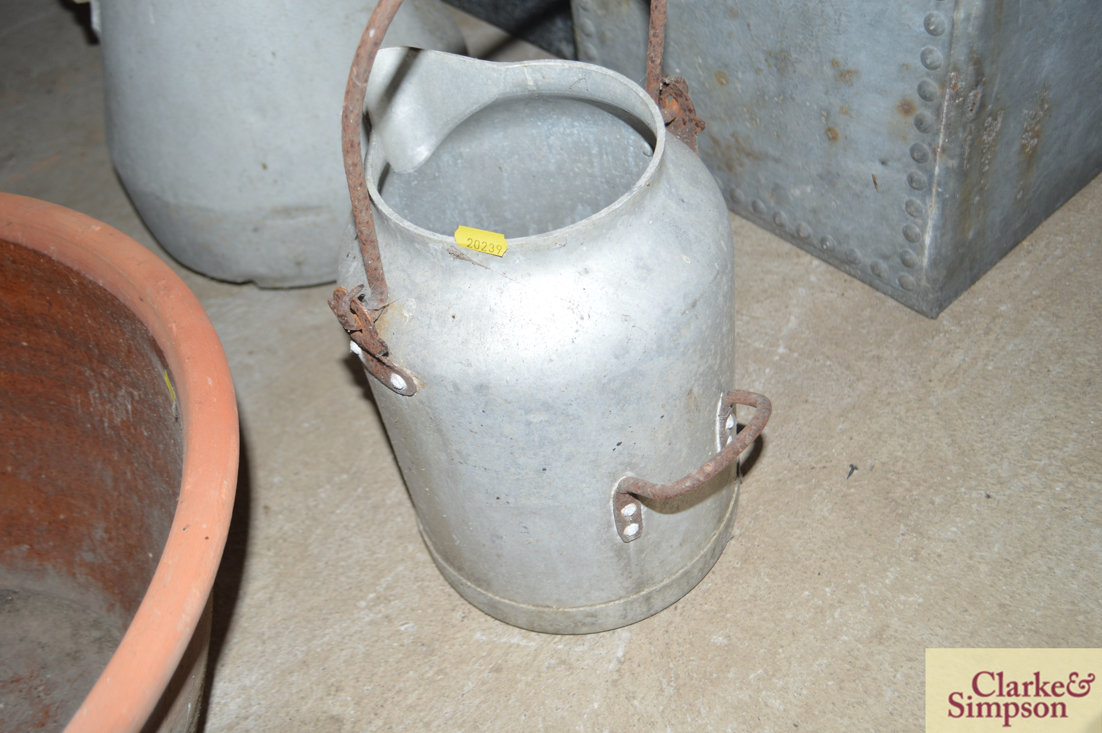 A milk churn with swing handle and another with p - Image 3 of 7