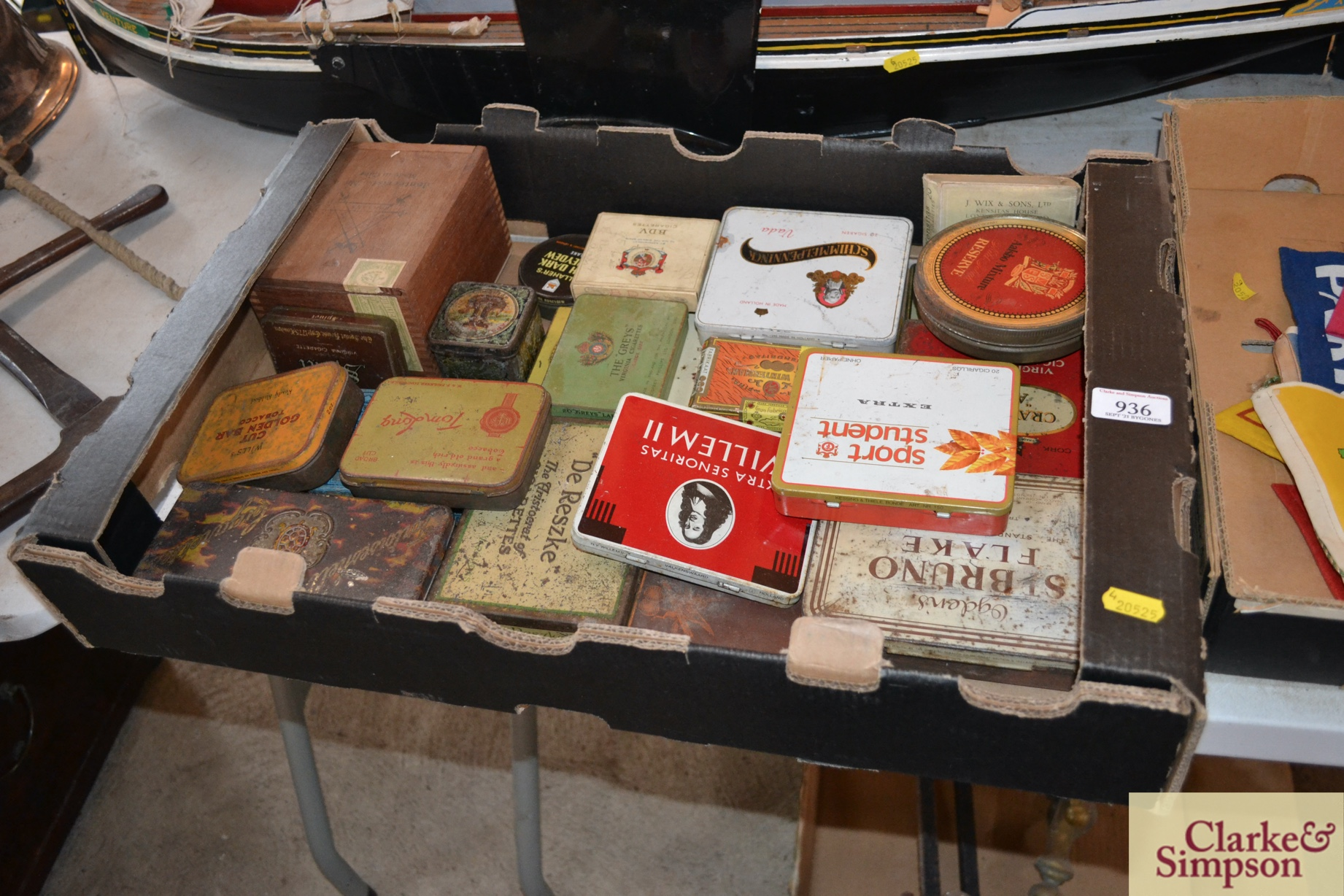 A box of various old cigar, cigarette and tobacco