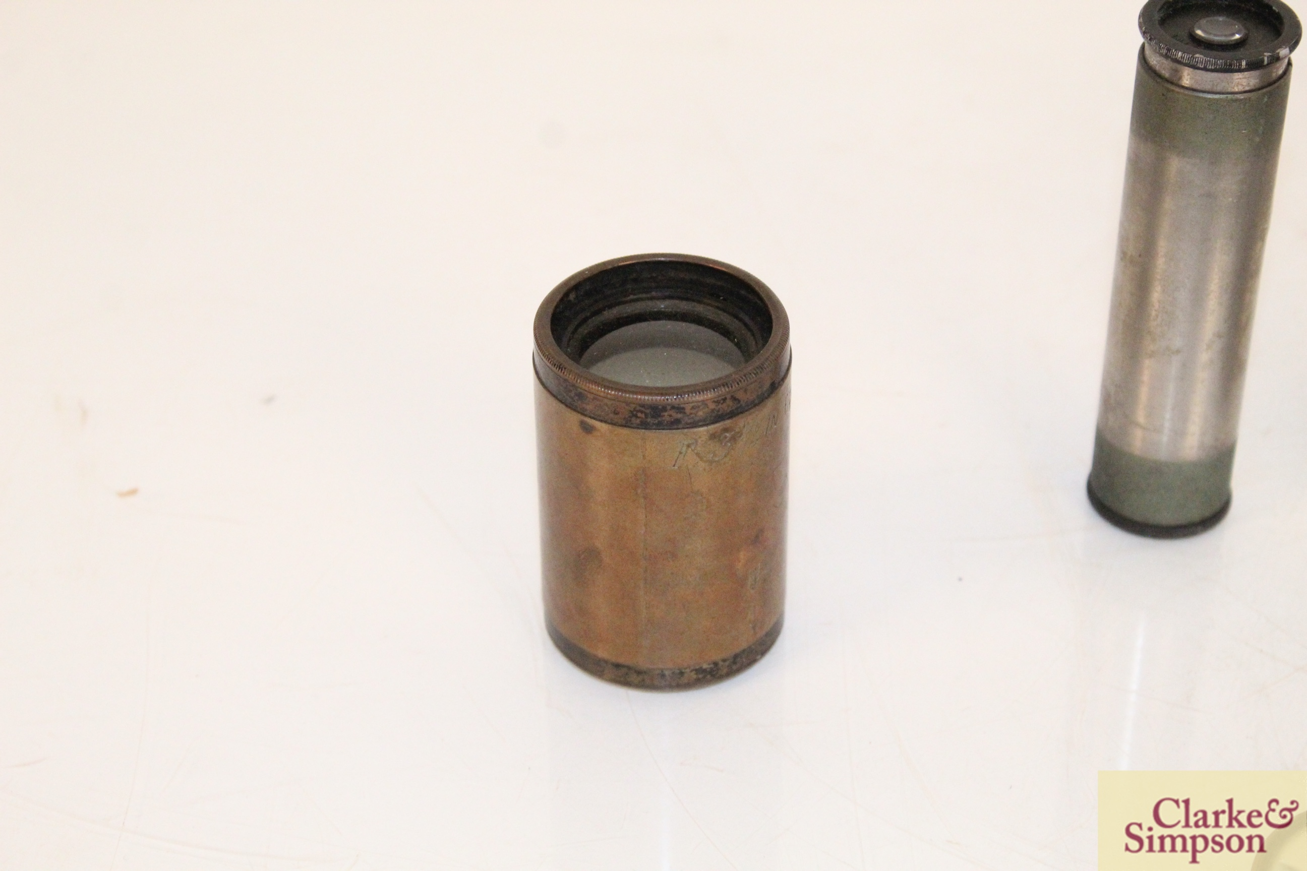 A brass cased magnifier on stand by Dunscombe of B - Image 2 of 9