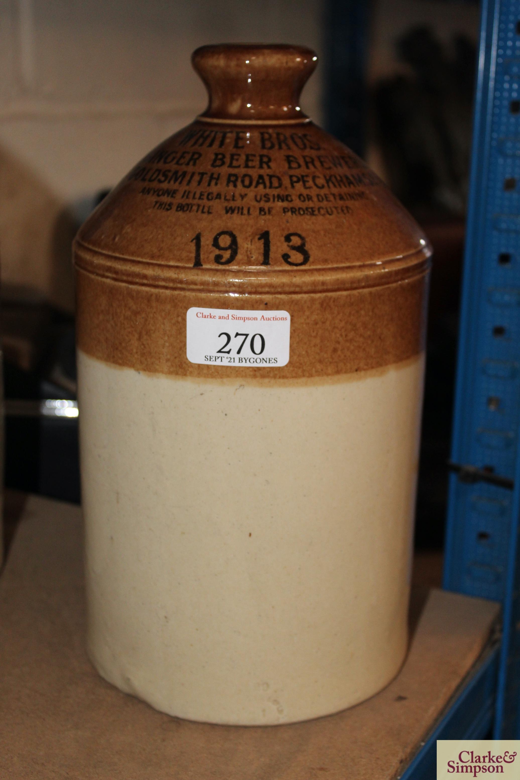 A stone glazed flagon for White Bros. Ginger Beer - Image 3 of 3
