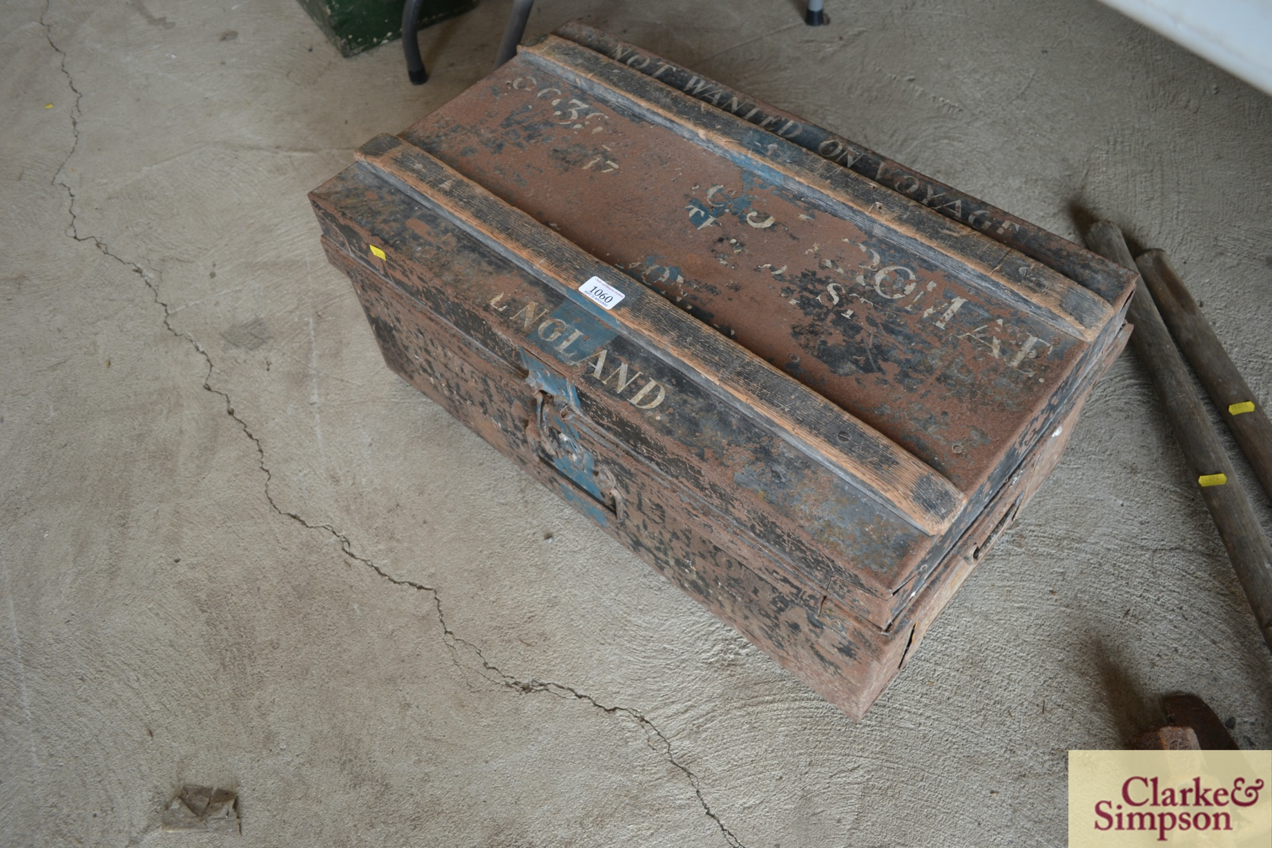 A metalware and wooden bound military tin trunk - Image 2 of 2