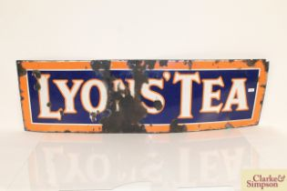 """A """"Lyons Tea"""" enamel advertising sign, 18 3/4 inches x 58 3/4 inches AF"""