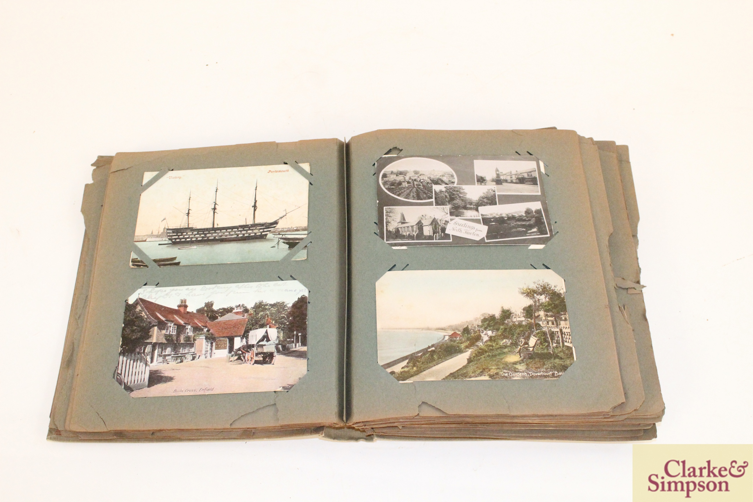 An early 20th Century post-card album containing a - Image 2 of 4