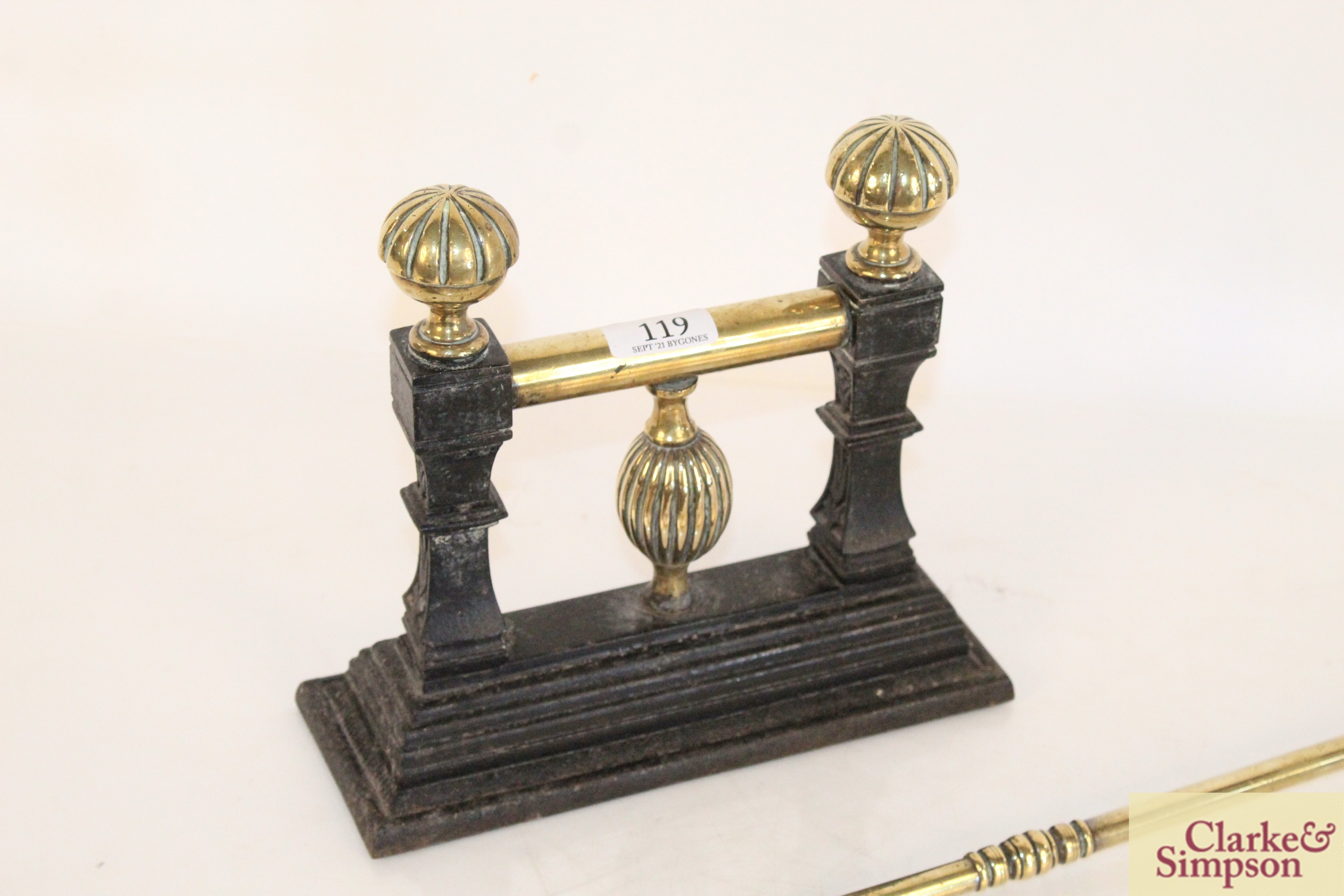 A pair of brass fire implements and a brass and c - Image 2 of 6