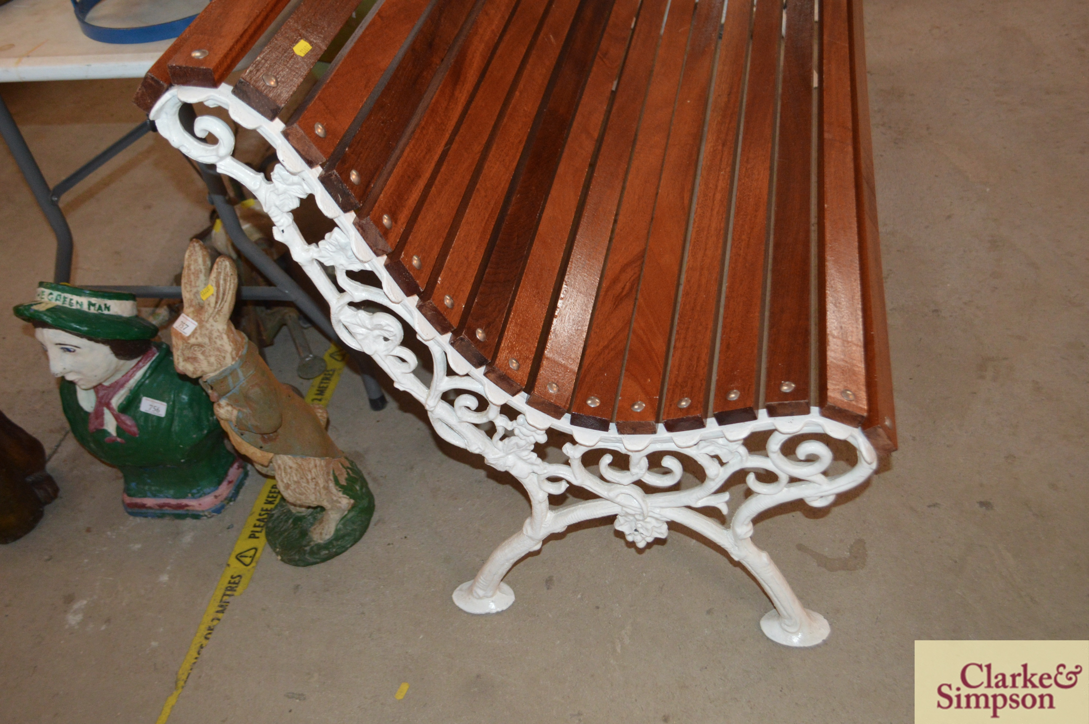 An ornate cast iron and teak slatted roll top benc - Image 3 of 4