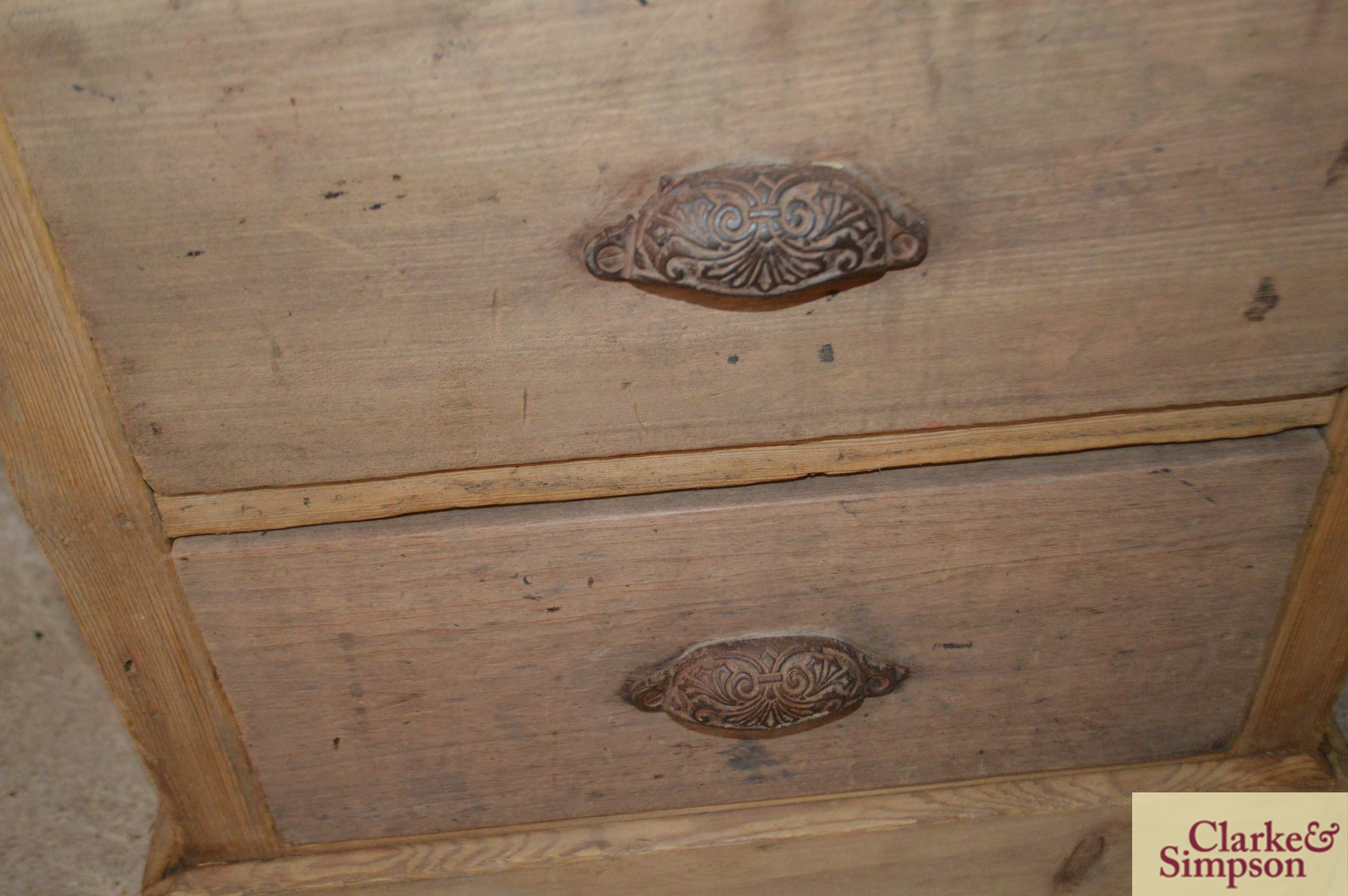 An antique stripped pine ironmongers two drawer ca - Image 3 of 4