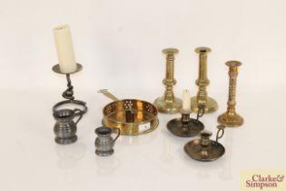 An antique brass chamber stick, various other cand