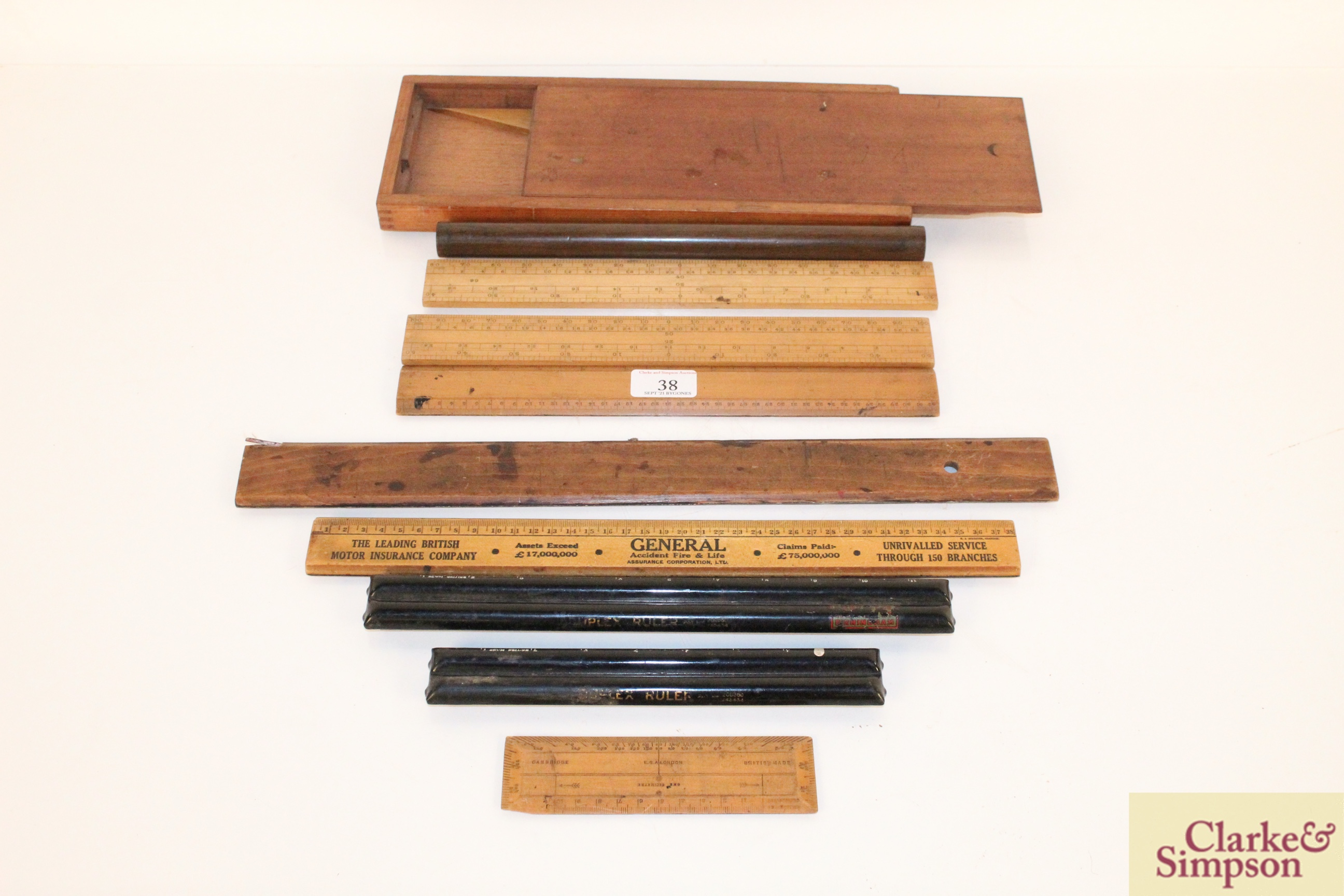 A quantity of various boxwood and other rules, inc
