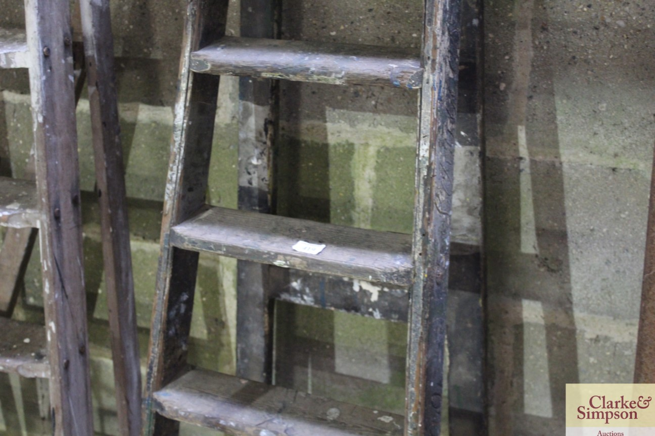 A set of tall vintage wooden steps with carved nam - Image 3 of 5