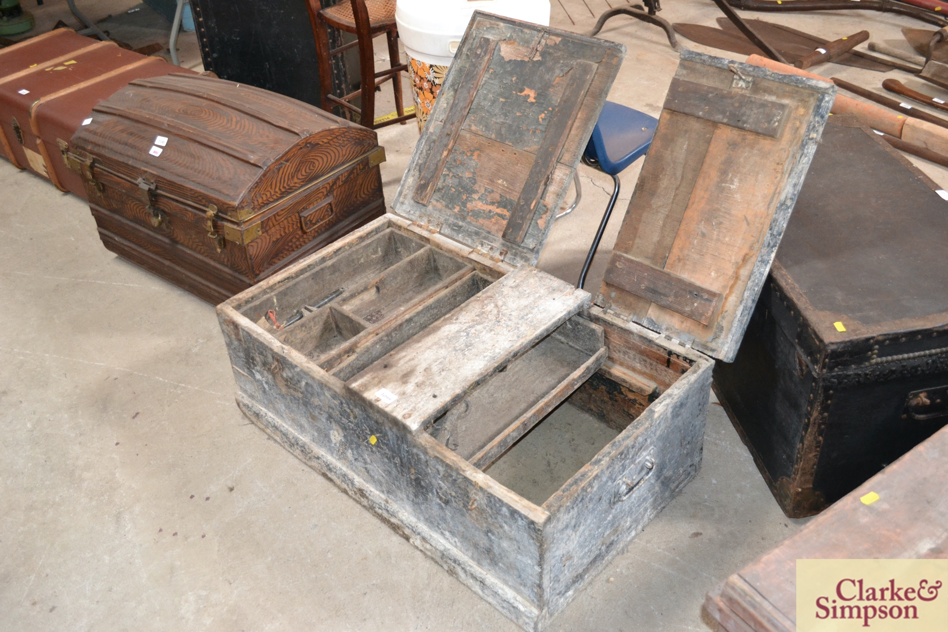 A large vintage pine twin lidded carpenters tools chest