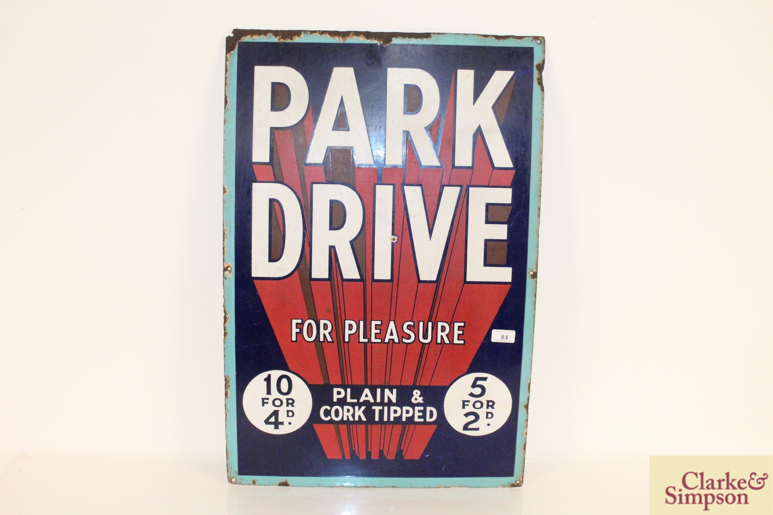 """A """"Park Drive For Pleasure"""" plain and cork tipped"""