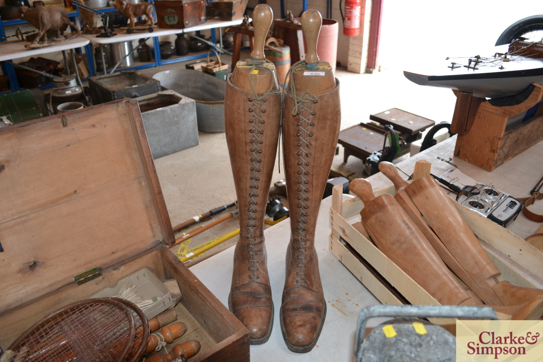 A pair of early 20th Century vintage leather boots
