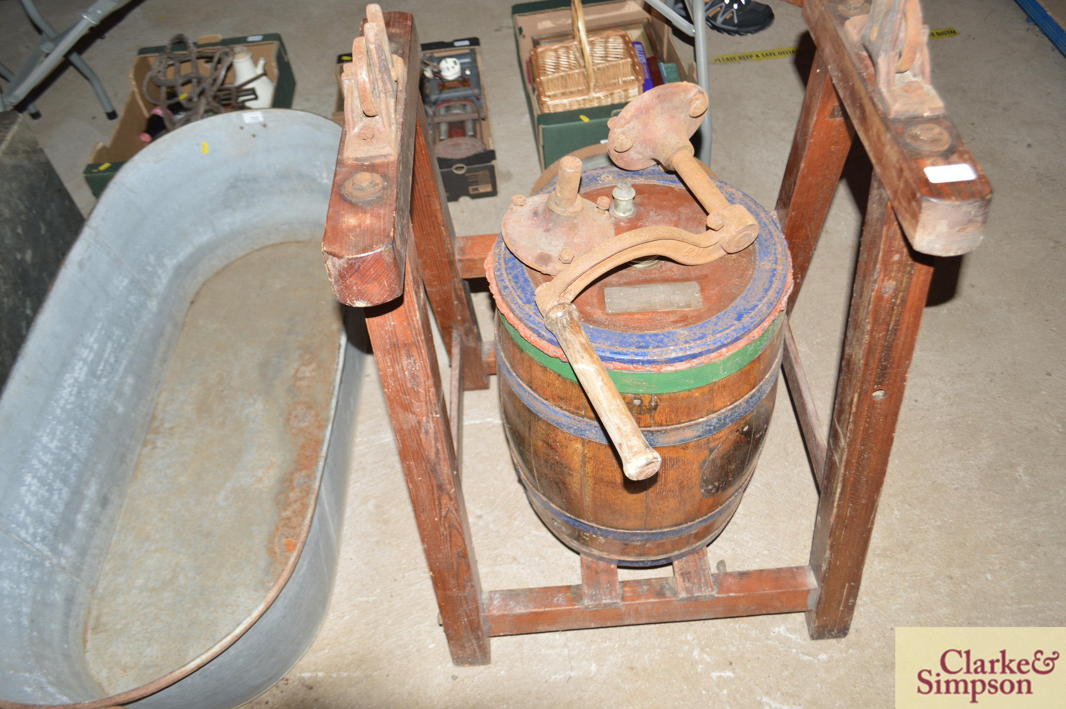 An old butter churn with stand and cream separator - Image 3 of 13