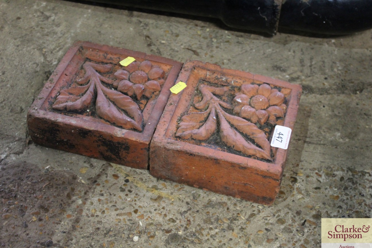 Two terracotta flower decorated bricks - Image 2 of 3