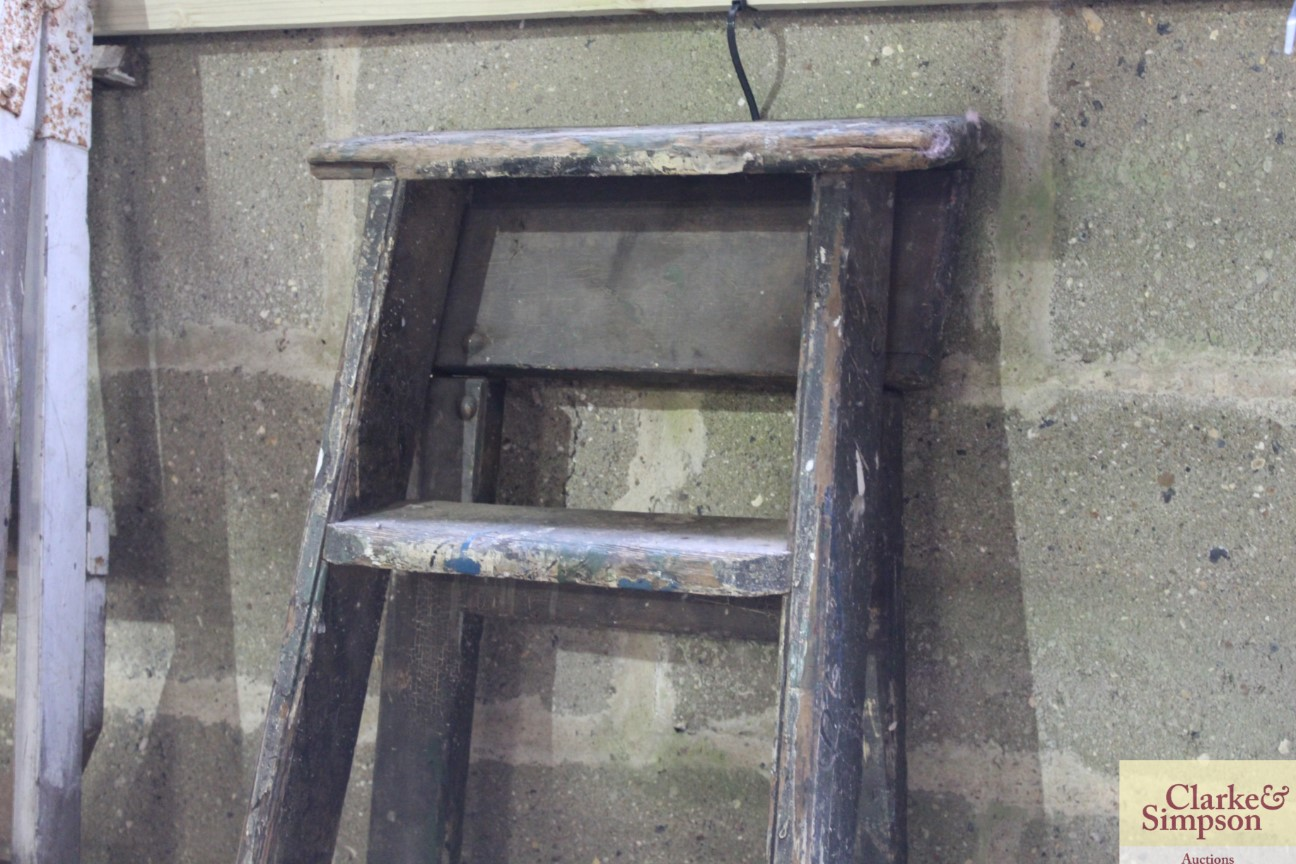 A set of tall vintage wooden steps with carved nam - Image 2 of 5