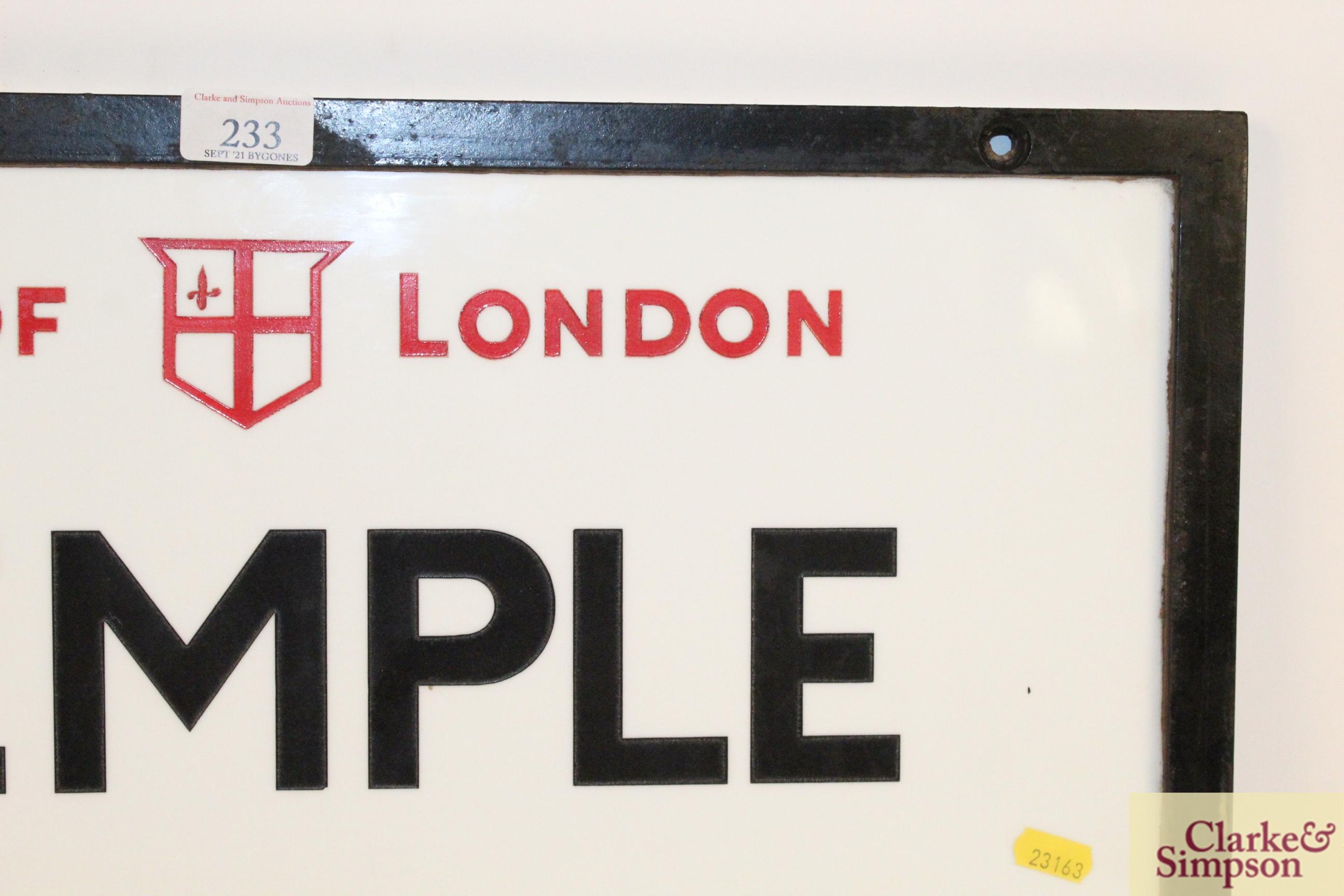 "An original ""Temple Avenue EC4"" vitreous white gla - Image 5 of 7"