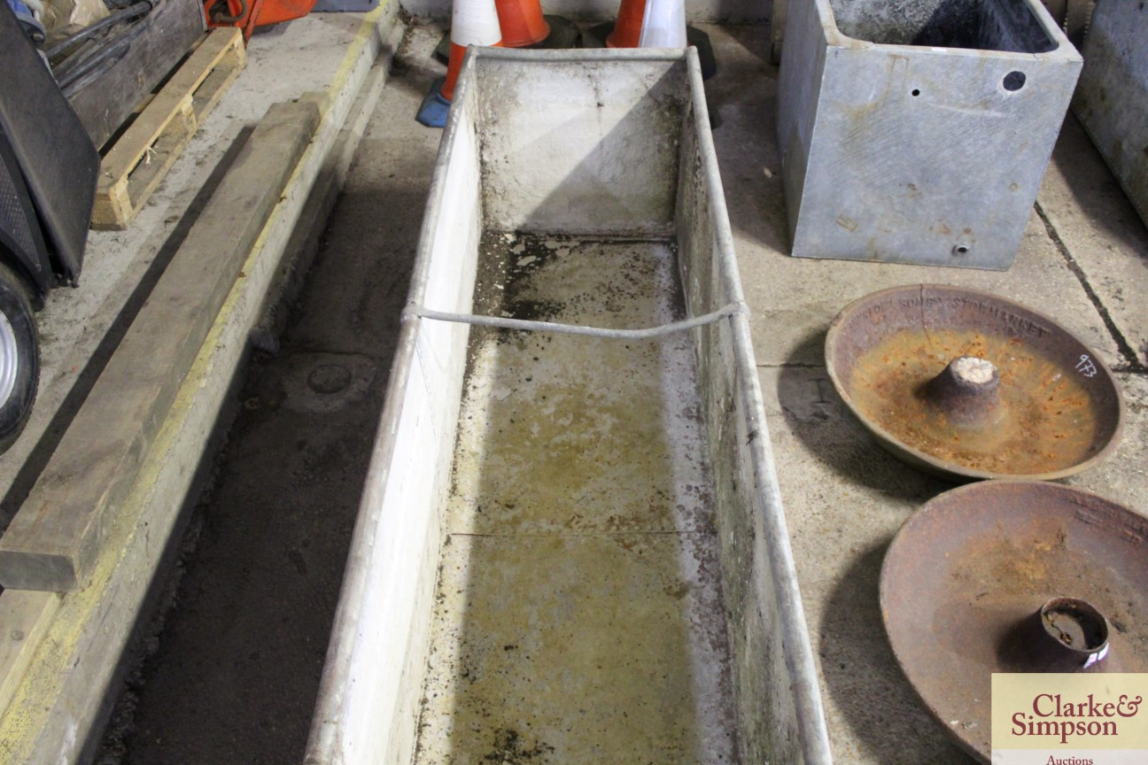 A large galvanised trough approx. 8' long x 3' dee - Image 3 of 4