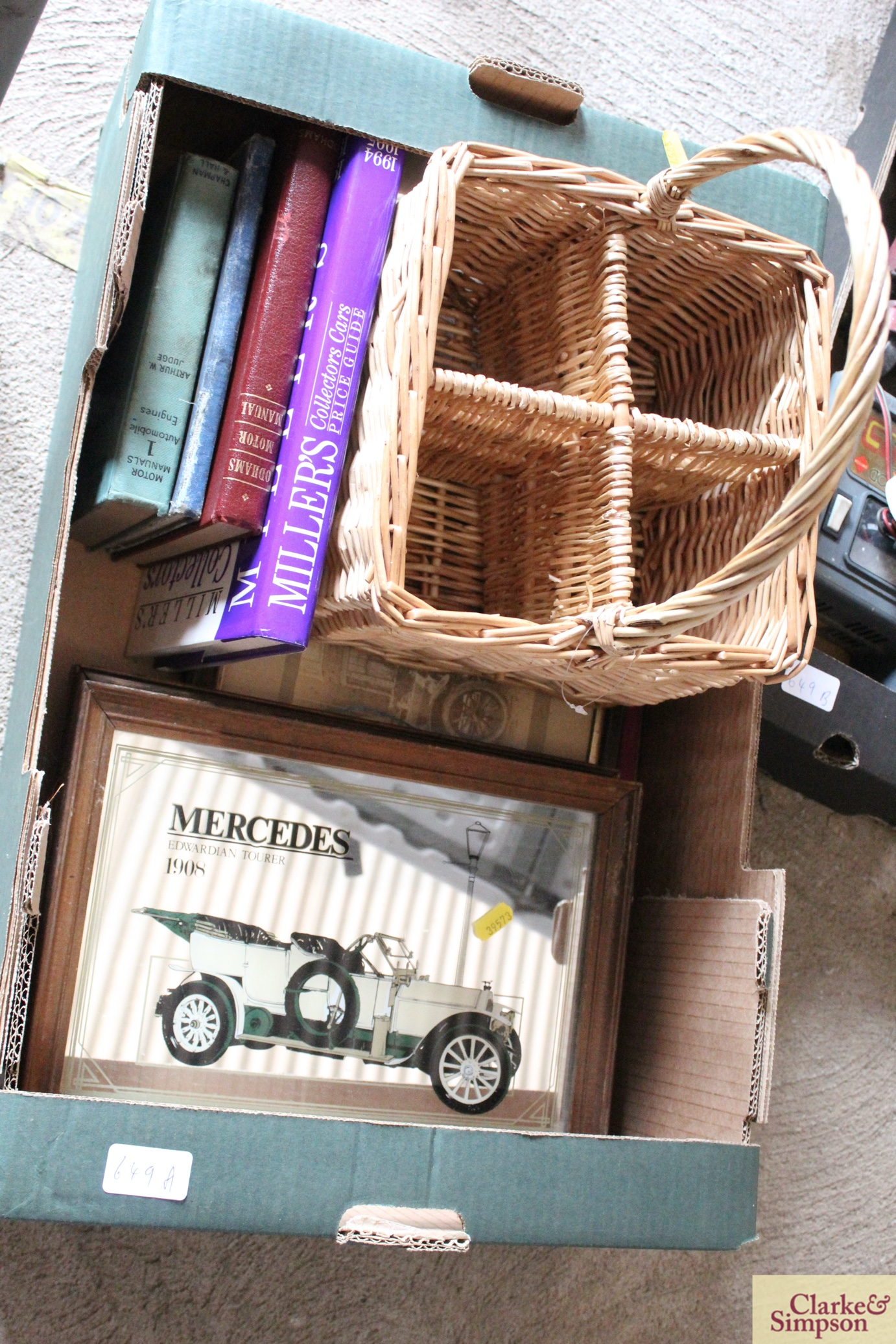A box containing a wicker bottle carrier, three ca - Image 2 of 3